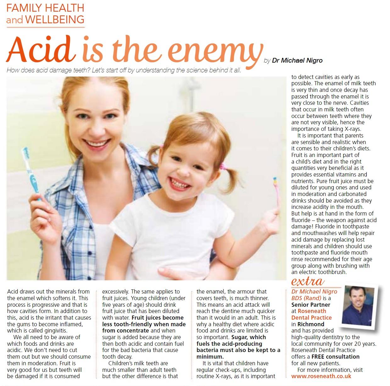 How does acid damage teeth